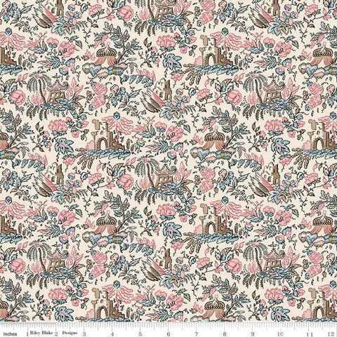 SALE Jane Austen at Home C10010 Sophia - Riley Blake Designs - Cream Pink Blue Historical Reproductions Floral - Quilting Cotton Fabric