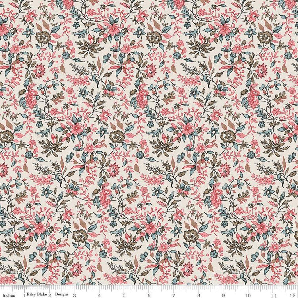 SALE Jane Austen at Home C10009 Harriet - Riley Blake Designs - Cream Pink Blue Historical Reproductions Floral - Quilting Cotton Fabric