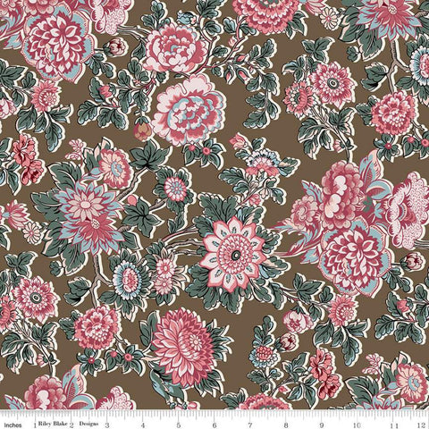 Jane Austen at Home C10008 Caroline - Riley Blake Designs - Brown Pink Blue Historical Reproductions Flowers Floral - Quilting Cotton