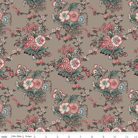 SALE Jane Austen at Home C10007 Marianne - Riley Blake Designs - Brown Pink Blue Historical Reproductions Flowers Floral - Quilting Cotton