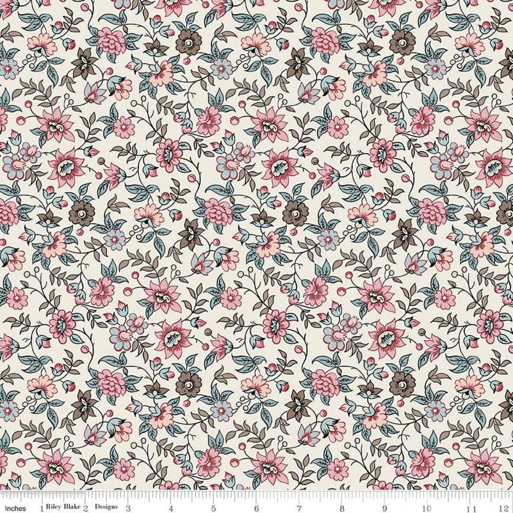 SALE Jane Austen at Home C10004 Elinor - Riley Blake Designs - Cream Blue Historical Reproductions Flowers Floral - Quilting Cotton Fabric