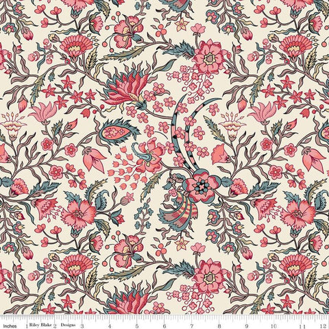 SALE Jane Austen at Home C10000 Elizabeth - Riley Blake Designs - Cream Pink Historical Reproductions Flowers Floral- Quilting Cotton Fabric