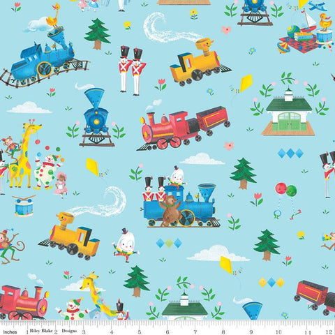 SALE The Little Engine That Could Main C9990 Blue - Riley Blake Designs - Juvenile  Train Engine Clowns Animals  - Quilting Cotton Fabric
