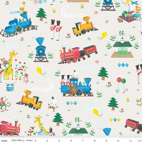 SALE The Little Engine That Could Main C9990 Cream - Riley Blake Designs - Juvenile Trains Train Clowns Animals  - Quilting Cotton Fabric