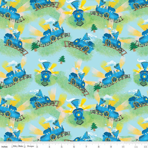 SALE The Little Engine That Could Choo-Choo C9992 Blue - Riley Blake Designs - Juvenile Trains Little Train - Quilting Cotton Fabric