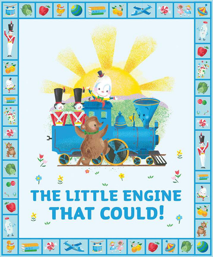 SALE The Little Engine That Coould Panel P9996 by Riley Blake Designs - Juvenile Trains Train Toys - Quilting Cotton Fabric