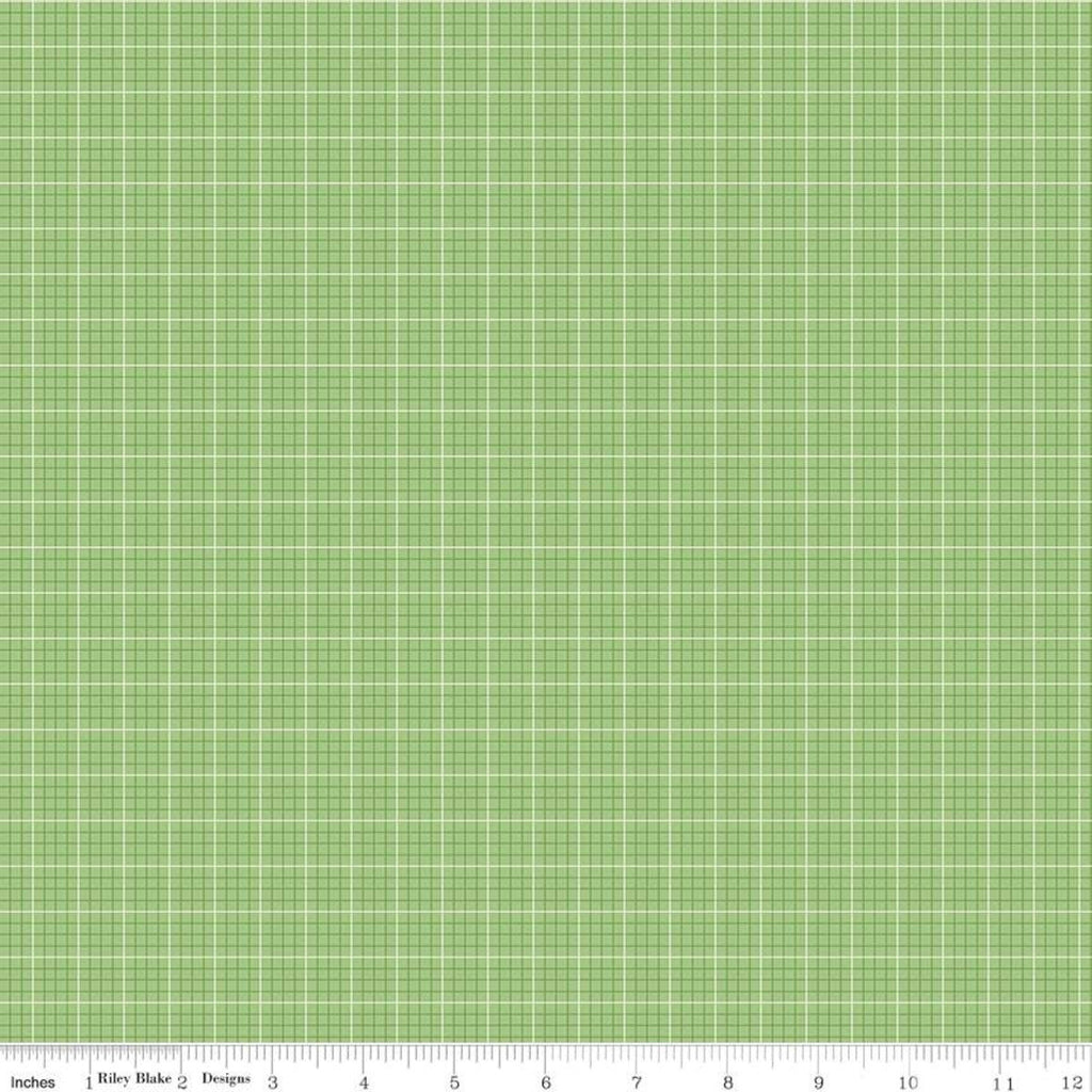 SALE Prim Evenweave C9697 Granny Apple - Riley Blake Designs - Green Graph Paper Grid Plaid - Quilting Cotton Fabric