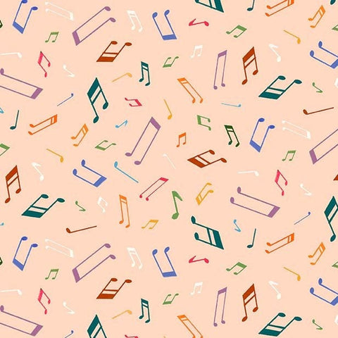 Woodland Musicians Musical Notes DC9013 Melon - The Little Red House for Michael Miller - Music Peach Orange - Quilting Cotton Fabric