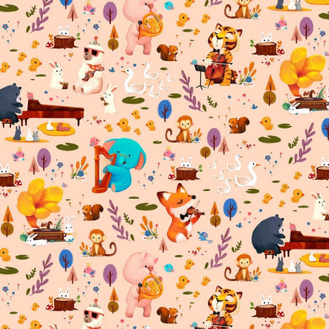Woodland Musicians Forest Jam DC9012 Melon by Michael Miller - Animals Music Musical Instruments Juvenile Orange - Quilting Cotton Fabric