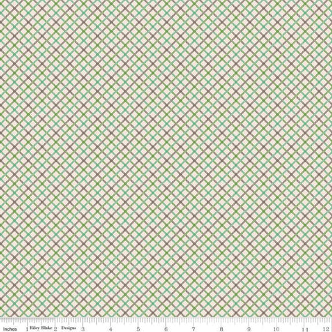 SALE Prim Homespun C9699 Clover - Riley Blake Designs - Green Diagonal Plaid - Quilting Cotton Fabric