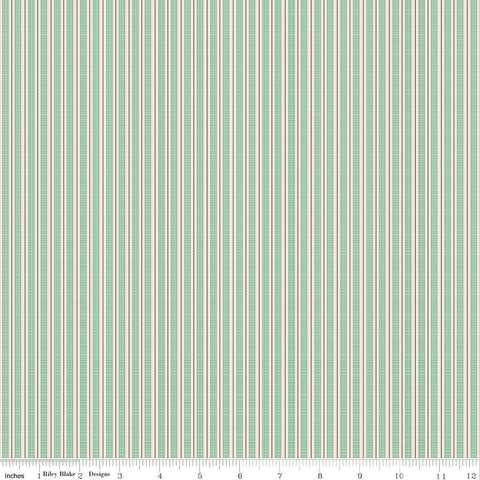 SALE Prim Ticking C9707 Alpine - Riley Blake Designs - Green Striping Stripes Striped - Quilting Cotton Fabric