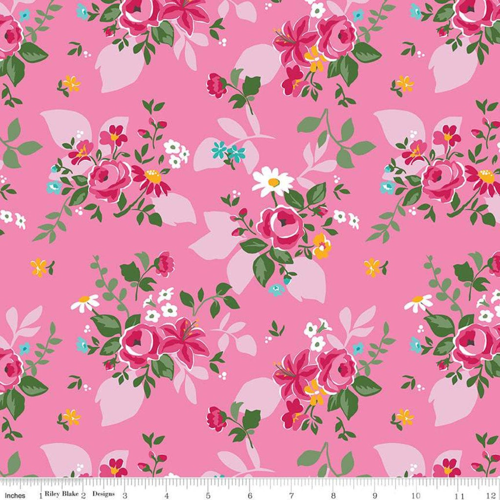 Fleur Main C9870 Pink - Riley Blake Designs - Flowers Floral  - Quilting Cotton Fabric