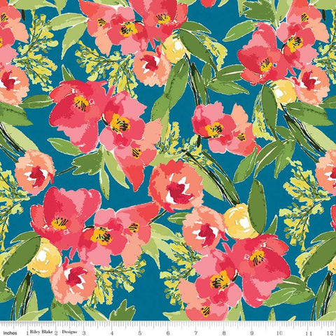 SALE Glohaven Main C9830 Blue - Riley Blake Designs - Flowers Floral -  Quilting Cotton Fabric