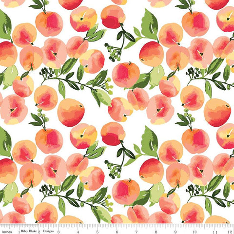 Glohaven Peaches C9831 White - Riley Blake Designs - Fruit Leaves -  Quilting Cotton Fabric