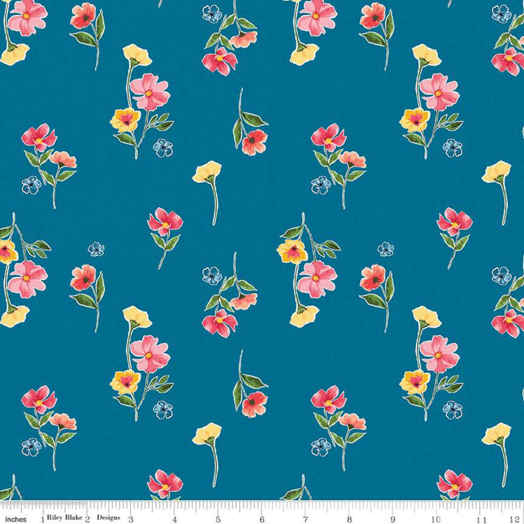 SALE Glohaven Flowers C9832 Blue - Riley Blake Designs - Floral - Quilting Cotton Fabric