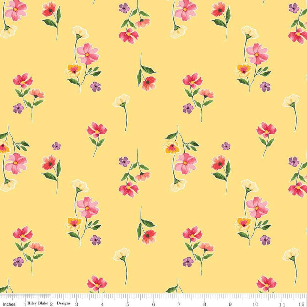 Glohaven Flowers C9832 Yellow - Riley Blake Designs - Floral - Quilting Cotton Fabric