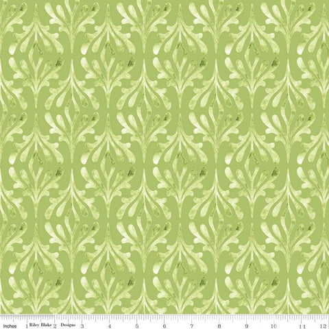 SALE Glohaven Damask C9833 Green - Riley Blake Designs - Tone on Tone Watercolor Pattern -  Quilting Cotton Fabric