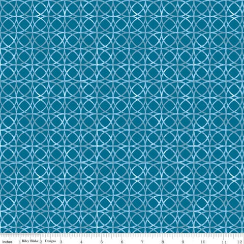SALE Glohaven Circles C9834 Blue - Riley Blake Designs - Tone on Tone Geometric Overlapping Circles - Quilting Cotton Fabric