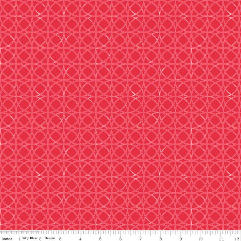 Glohaven Circles C9834 Dark Pink - Riley Blake Designs - Tone on Tone Geometric Overlapping Circles -  Quilting Cotton Fabric