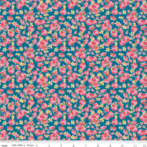 Glohaven Blossoms C9835 Blue - Riley Blake Designs - Flowers Floral - Quilting Cotton Fabric