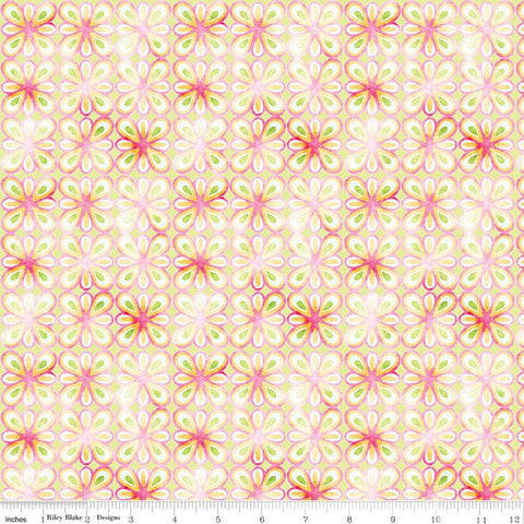 Glohaven Petals C9836 Green - Riley Blake Designs - Geometric Floral Medallions Flowers -  Quilting Cotton Fabric