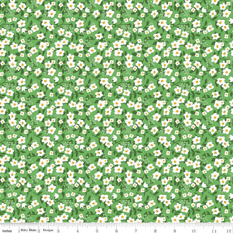 Fleur Meadow C9873 Green - Riley Blake Designs - Floral Flower Leaves White Flowers -  Quilting Cotton Fabric