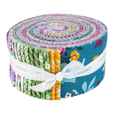 Fleur 2.5-Inch Rolie Polie Jelly Roll 40 pieces Riley Blake Designs - Precut Bundle - Flowers Floral - Quilting Cotton Fabric