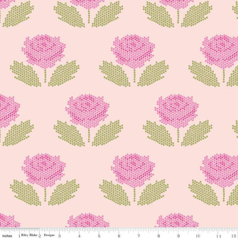 SALE New Dawn Stitch C9852 Blush - Riley Blake Designs - Pink Floral Pixelated Flower Flowers Leaves - Quilting Cotton Fabric