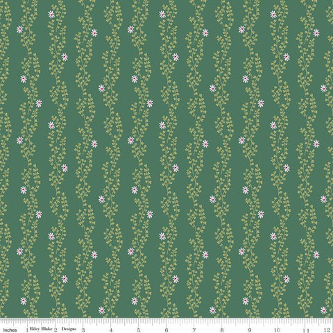SALE New Dawn Clover Stripe C9854 Dark Green - Riley Blake Designs - Floral Flowers Leaves Striped Stripes - Quilting Cotton