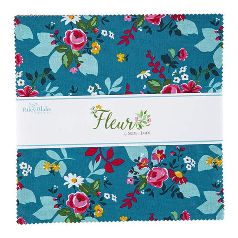"Fleur Layer Cake 10"" Stacker Bundle - Riley Blake Designs - 42 piece Precut Pre cut - Flowers Floral - Quilting Cotton Fabric"