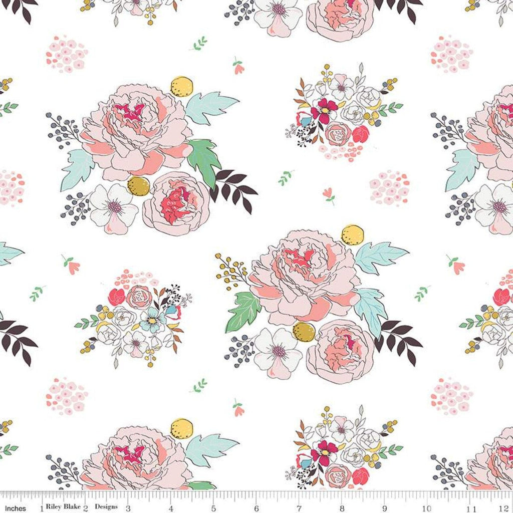 SALE Idyllic Main C9880 Cream - Riley Blake Designs - Flowers Floral - Quilting Cotton Fabric