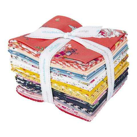 Idyllic Fat Quarter Bundle 21 pieces - Riley Blake Designs - Pre cut Precut - Flowers Floral - Quilting Cotton Fabric