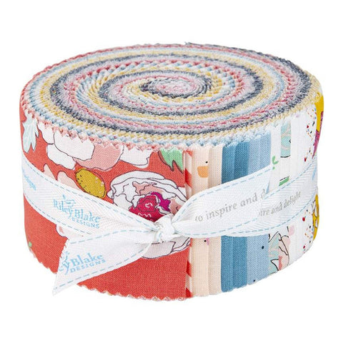 Idyllic 2.5-Inch Rolie Polie Jelly Roll 40 pieces Riley Blake Designs - Precut Bundle - Floral Flowers - Quilting Cotton Fabric