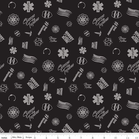 SALE Nobody Fights Alone First Responder C10421 Black - Riley Blake Designs - Symbols Flags Stronger Together - Quilting Cotton Fabric