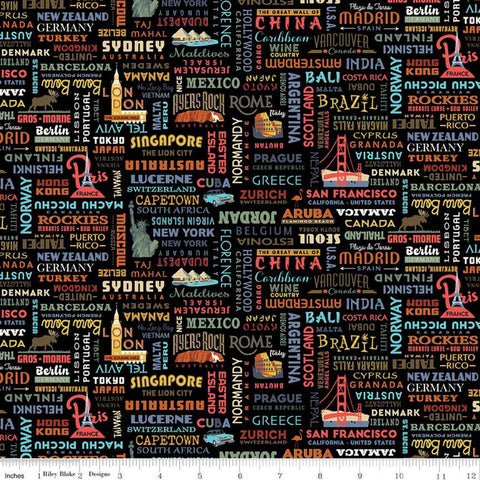 SALE Destinations World Destinations C10031 Black - Riley Blake Designs - Cities Countries Points of Interest - Quilting Cotton Fabric