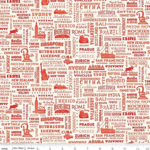 SALE Destinations World Destinations C10031 Red - Riley Blake Designs - Cities Countries Points of Interest Cream - Quilting Cotton Fabric