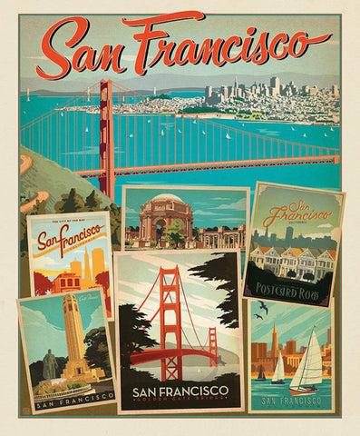 SALE Destinations Poster Panel P10021 San Francisco by Riley Blake Designs - Golden Gate Bridge Points of Interest - Quilting Cotton Fabric