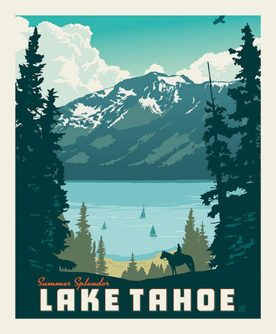 SALE Destinations Poster Panel P10022 Lake Tahoe by Riley Blake Designs - Outdoors Recreation California Mountains - Quilting Cotton Fabric