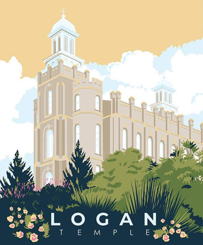 SALE Temples Logan Panel P9861 by Riley Blake Designs - Church of Jesus Christ of Latter-day Saints Temple Utah  - Quilting Cotton Fabric