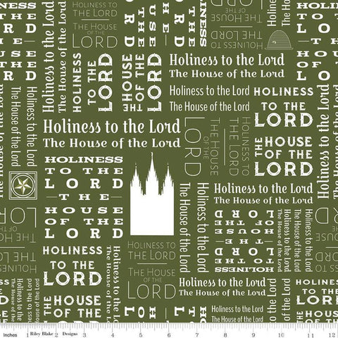 SALE Temples Text C9863 Green - Riley Blake Designs - House of the Lord Holiness to the Lord Latter-day Saints - Quilting Cotton Fabric
