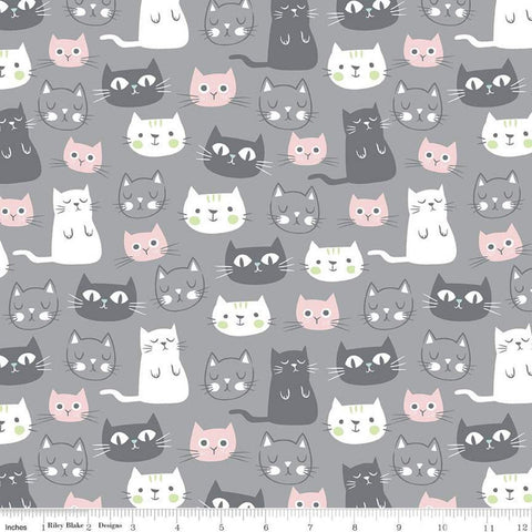 Purrfect Day Main C9900 Gray - Riley Blake Designs - Cat Cats Kittens Gray Pink White - Quilting Cotton Fabric