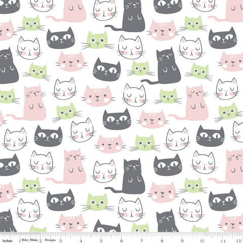 Purrfect Day Main C9900 White - Riley Blake Designs - Cat Cats Kittens Gray Green Pink White - Quilting Cotton Fabric
