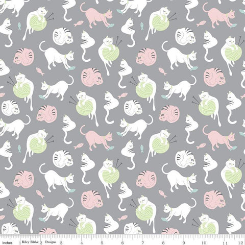 SALE Purrfect Day Yarn C9901 Gray - Riley Blake Designs - Cat Cats Kittens Knitting Needles Fish Pink Green White - Quilting Cotton Fabric