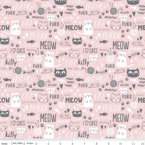 Purrfect Day Text C9902 Pink - Riley Blake Designs - Cat Cats Kittens Words Yarn Fish Mice White Gray - Quilting Cotton Fabric