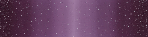 Ombre Fairy Dust METALLIC 10871 Aubergine - Moda - Light to Darker Eggplant Purple with Silver SPARKLE Stars - Quilting Cotton Fabric