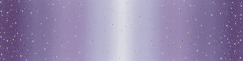 Ombre Fairy Dust METALLIC 10871 Iris - Moda - Light to Darker Purple with Silver SPARKLE Stars - Quilting Cotton Fabric
