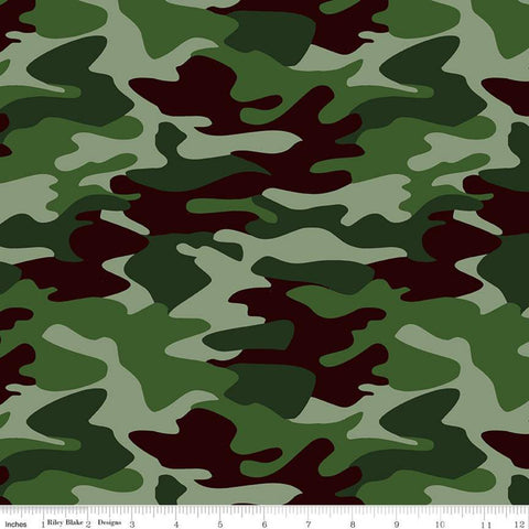 Nobody Fights Alone Camo C10420 Green - Riley Blake Designs - Camoflauge First Responders Armed Forces - Quilting Cotton Fabric