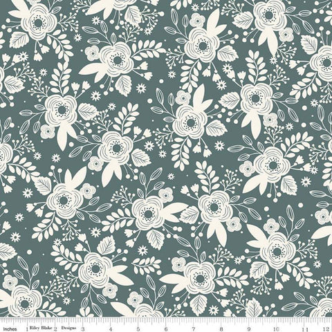 My Heritage Main C9790 Teal - Riley Blake Designs - Green Cream Floral Flowers - Quilting Cotton Fabric