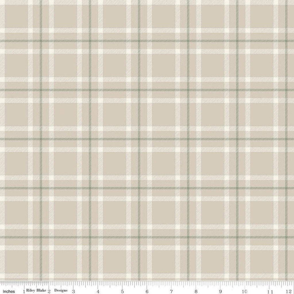 My Heritage Plaid C9791 Parchment - Riley Blake Designs - Beige Green Cream Geometric - Quilting Cotton Fabric