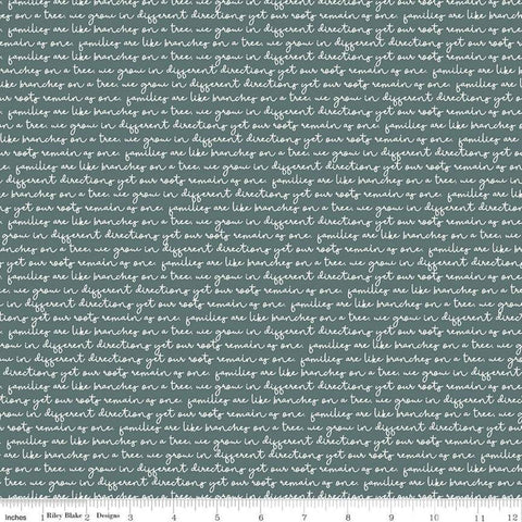 SALE My Heritage Text C9792 Teal - Riley Blake Designs - Green Cream Script Words Families Family Roots Branches  - Quilting Cotton Fabric